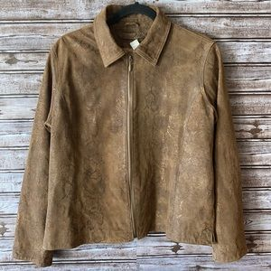 Chico's Leather Jacket Brown Size Medium